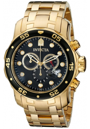 Invicta Men's Pro Diver Collection Chronograph 18k Gold-Plated Watch