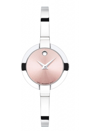 BELA PINK DIAL STAINLESS STEEL BANGLE LADIES WATCH, 25MM