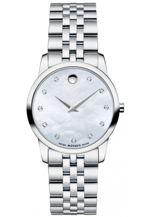 Movado Women's Swiss Museum Classic Diamond Accent Stainless Steel Bracelet Watch 28mm