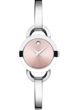 Movado Rondiro Pink Dial Stainless Steel Bangle Ladies Watch