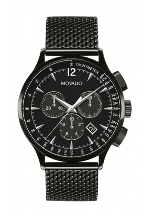 MOVADO Circa Chronograph Black Dial Black PVD Mesh Men's Watch