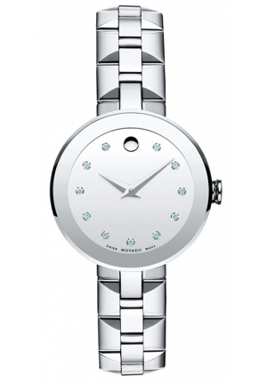 MOVADO Sapphire Silver Dial Stainless Steel Ladies Watch, 28mm