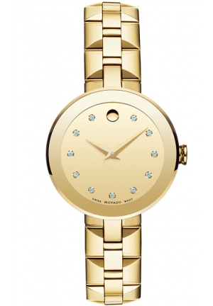 MOVADO Sapphire Champagne Dial Gold PVD Stainless Steel Ladies Watch, 28mm