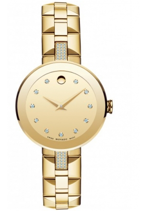 MOVADO Sapphire gold tone Diamond Dial Stainless Steel Ladies Watch, 28mm