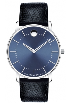 MOVADO TC Blue Dial Leather Men's Watch
