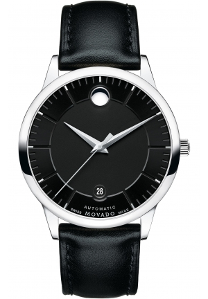 MOVADO 1881 Black Dial Black Leather Band  Automatic Men's Watch