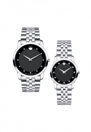Movado Museum Couple Silver Watch 0606878, 0606858