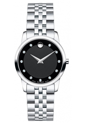 Movado Museum Quartz Black Dial Silver Stainless Steel Ladies Watch