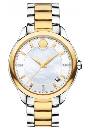 MOVADO Bellina Two-tone Bracelet Watch With white mother-of-pearl dial 36mm