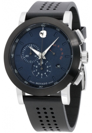 MOVADO Museum Museum Chronograph Blue Dial Black Rubber Men's Watch