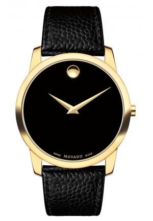 MUSEUM CLASSIC BLACK DIAL YELLOW GOLD PVD MEN'S WATCH 0607014, 40MM