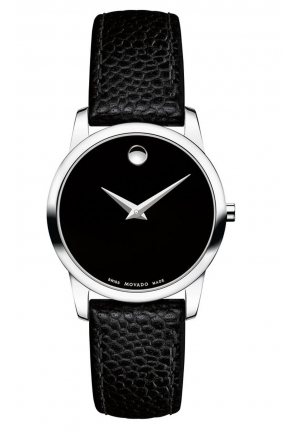 MUSEUM CLASSIC BLACK DIAL LEATHER LADIES WATCH, 28MM