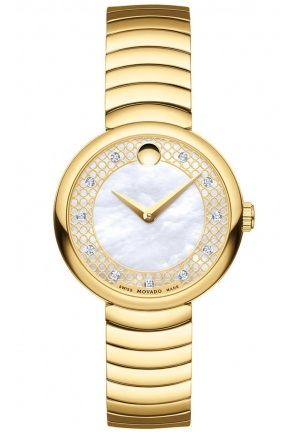 MYLA WHITE MOTHER OF PEARL YELLOW GOLD PVD STAINLESS LADIES WATCH, 28.5MM