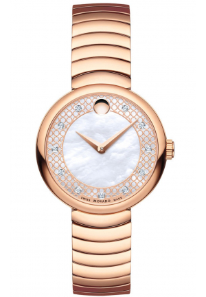 MYLA WHITE MOTHER OF PEARL MUSEUM GOLD PVD STAINLESS LADIES WATCH 0607046, 28.5MM