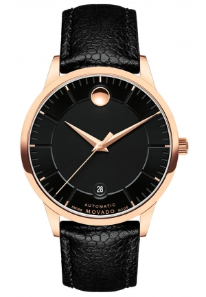 1881 AUTOMATIC ROSE GOLD PVD BLACK LEATHER STRAP MEN'S WATCH, 39.5MM