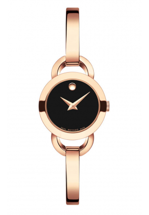 MOVADO RONDIRO BLACK DIAL LADIES ROSE GOLD TONE WATCH