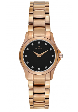 MOVADO Masion Black Dial Diamond Ladies Watch