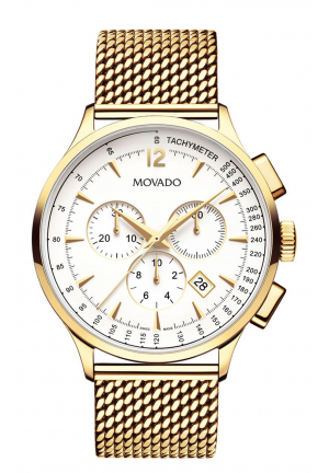 MOVADO CIRCA IVORY DIAL MEN'S CHRONOGRAPH WATCH 0607080 , 42MM