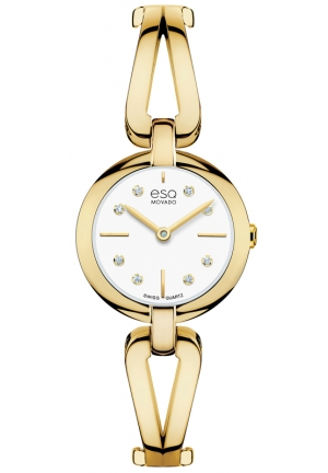 MOVADO ESQ Corbel White Dial Gold-tone Stainless Steel Ladies Watch , 24mm