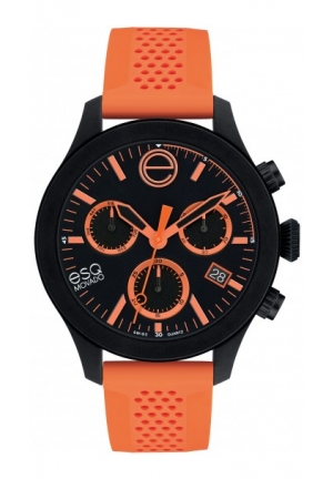 ESQ One Analog Display Swiss Quartz Orange Watch 44mm