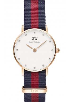 DANIEL WELLINGTON Oxford White Dial Navy and Red Nylon Ladies Watch DW00100064