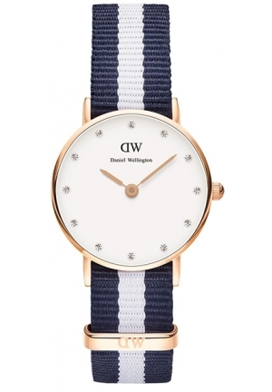 DANIEL WELLINGTON Classy Glasgow White Dial Blue and White Stripe Nylon NATO Ladies Watch