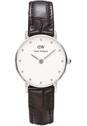 Classy York White Dial Brown Leather Ladies Watch DW00100069