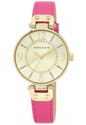 Anne Klein Women's Pink Leather Strap Watch 34mm