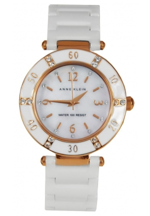 Anne Klein Watch, Women's White Ceramic Bracelet