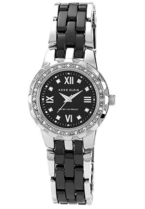 Anne Klein Watch, Women's Black and Silver-Tone Bracelet 29mm