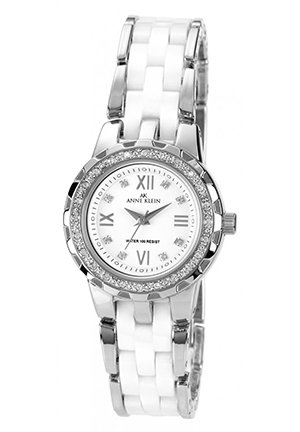 Anne Klein Watch, Women's White Ceramic and Silver-Tone Bracelet