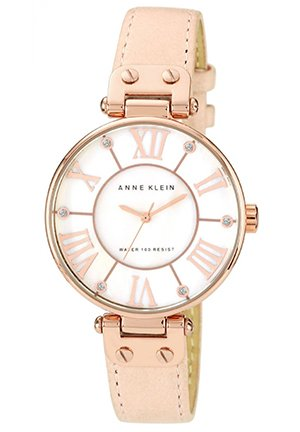 Anne Klein Watch, Women's Peach Leather Strap 34mm