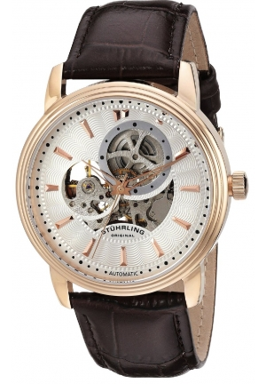 Stuhrling Original Men's Classic Delphi Acheron Automatic Skeleton Brown Leather Strap Watch