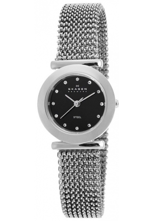 Skagen Black Dial Stainless Steel Expansion Band Ladies Watch