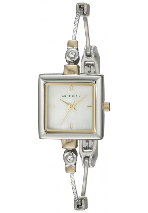 "Anne Klein Women's Square Swarovski Crystal Accented Two-Tone ""Illusion"" Bangle Watch"