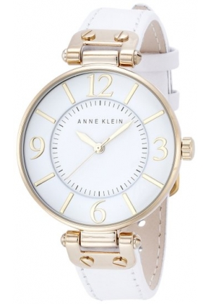 Anne Klein Women's  Gold-Tone and White Leather Strap Watch