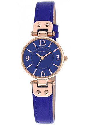 Anne Klein Women's Blue Leather Strap Watch 26mm