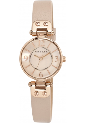 Anne Klein Women's  Rose Gold-Tone Watch with Leather Band