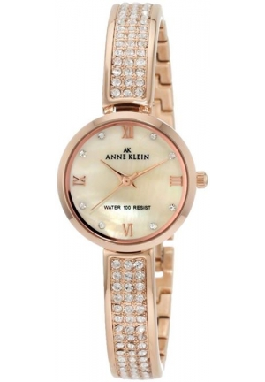 Anne Klein Women's 10/9786CMRG Swarovski Crystal Accented Rosegold-Tone Half Bangle Watch
