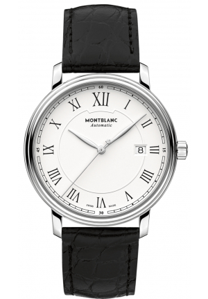 MONTBLANC Tradition Automatic White Dial Black Leather Men's Watch