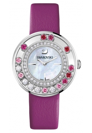 Swarovski Women's Lovely Crystals Pink Leather Swiss Quartz Watch