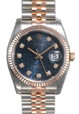 Datejust Jubilee Diamond Dial Fluted 18k Rose Gold Bezel Jubilee Mens Watch 116231BLJDJ 36mm