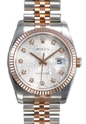 Datejust Silver Jubilee Diamond Dial Fluted 18k Rose Gold Bezel Jubilee Bracelet Mens Watch, 116231SJDJ 36mm