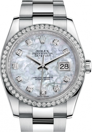 Rolex Datejust Mother of Pearl Dial Automatic Diamond Bezel Steel Ladies Watch , 116244MDO 36mm