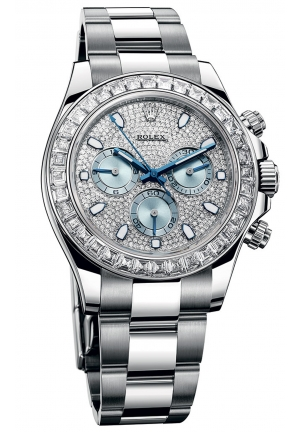 COSMOGRAPH DAYTONA DIAMOND PAVE DIAL PLATINUM MEN'S WATCH 116576TBR, 40MM