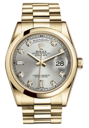 DAY-DATE OYSTER YELLOW GOLD 118208-0108, 36MM