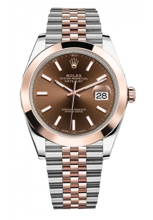 DATEJUST CHOCOLATE DIAL STEEL AND 18K EVEROSE GOLD JUBILEE MEN'S WATCH 126301-0002, 41MM