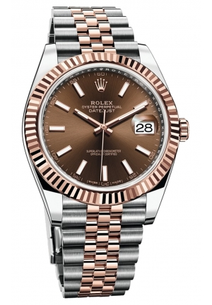 DATEJUST CHOCOLATE DIAL STEEL AND 18K EVEROSE GOLD JUBILEE MEN'S WATCH 126331-0002, 41MM