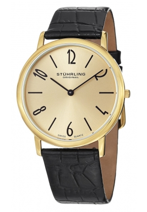 Stuhrling Original Men's Classic Ascot II Swiss Quartz Slim Gold Tone Watch