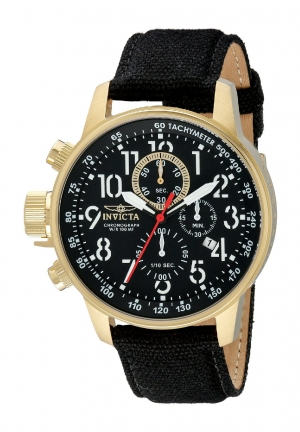Invicta Men's I Force Collection 18k Gold Ion-Plated Watch with Black Cloth-Covered Band